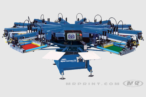image of m & r sportsman multi head screenprint machine southall